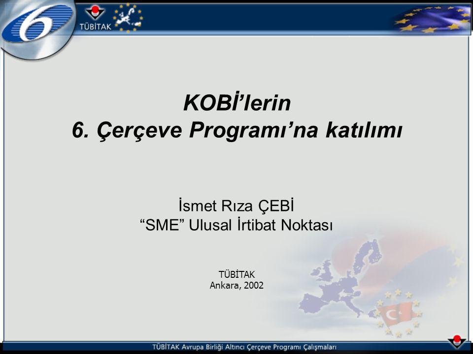 Altıncı Çerçeve Programı Türkiye Kurumsal İrtibat Noktaları Eğitim Semineri KOBİ lerin Altıncı Çerçeve Programı na katılımı, İsmet Rıza Çebi