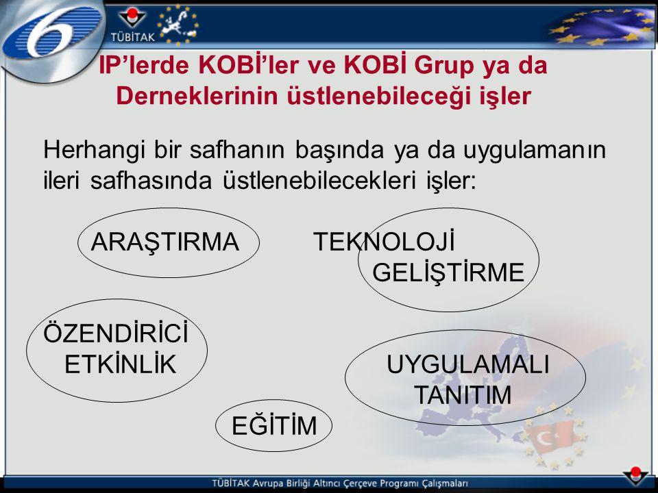 IP'lerde KOBİ'ler ve KOBİ Grup ya da Derneklerinin üstlenebileceği işler