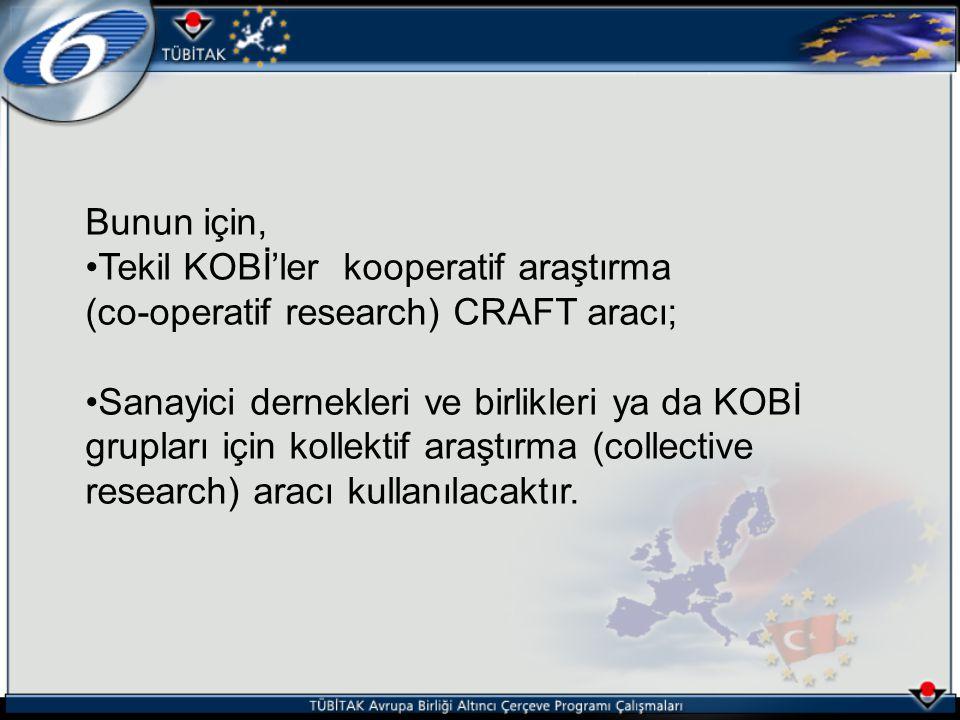 Bunun için, Tekil KOBİ'ler kooperatif araştırma. (co-operatif research) CRAFT aracı;