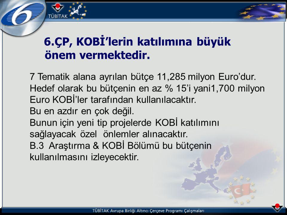 6.ÇP, KOBİ'lerin katılımına büyük önem vermektedir.