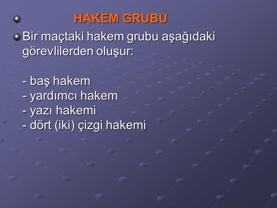 HAKEM GRUBU Bir maçtaki hakem grubu aşağıdaki görevlilerden oluşur: - baş hakem - yardımcı hakem - yazı hakemi - dört (iki) çizgi hakemi.