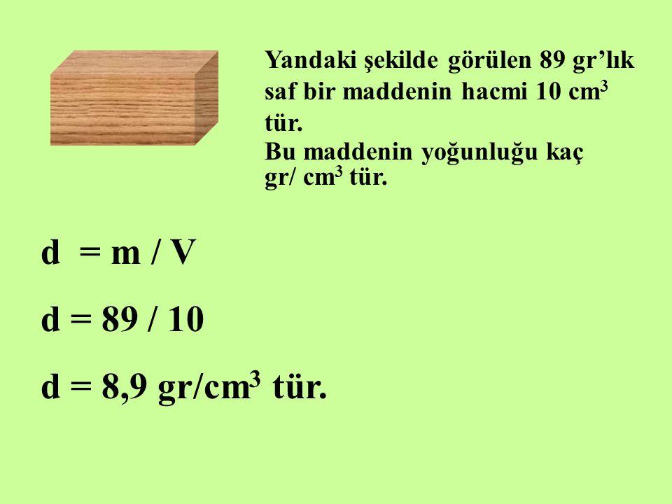 Yandaki şekilde görülen 89 gr'lık saf bir maddenin hacmi 10 cm3 tür.