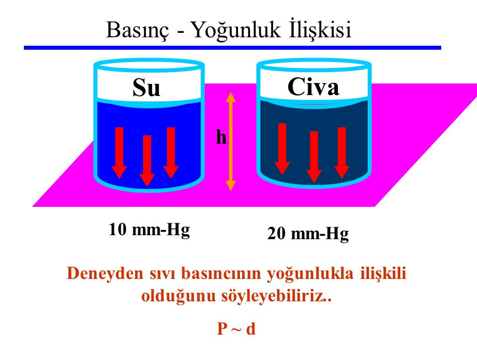 Deneyden sıvı basıncının yoğunlukla ilişkili olduğunu söyleyebiliriz..