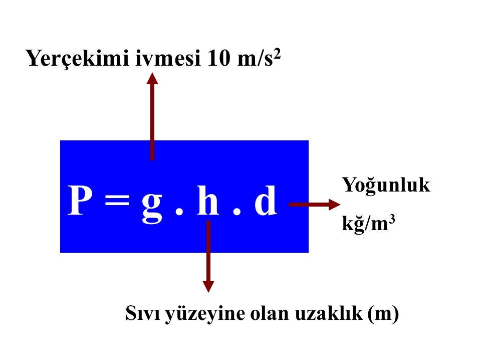 P = g . h . d Yerçekimi ivmesi 10 m/s2 Yoğunluk kğ/m3