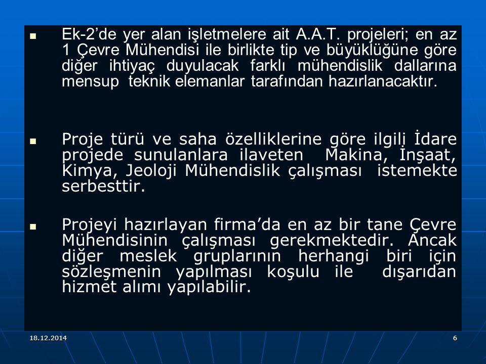 Ek-2'de yer alan işletmelere ait A. A. T