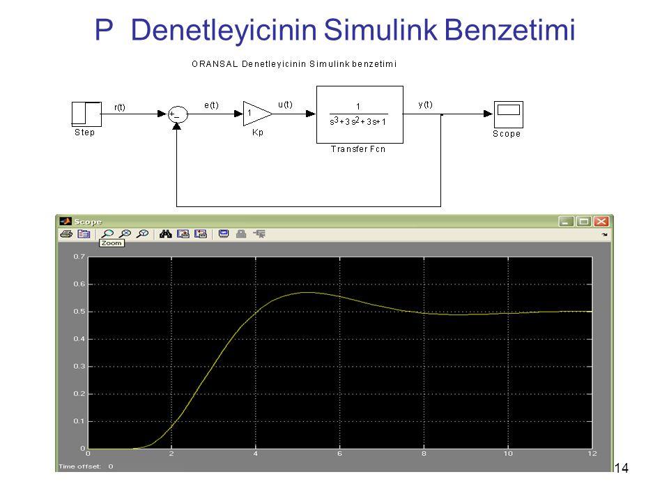 P Denetleyicinin Simulink Benzetimi