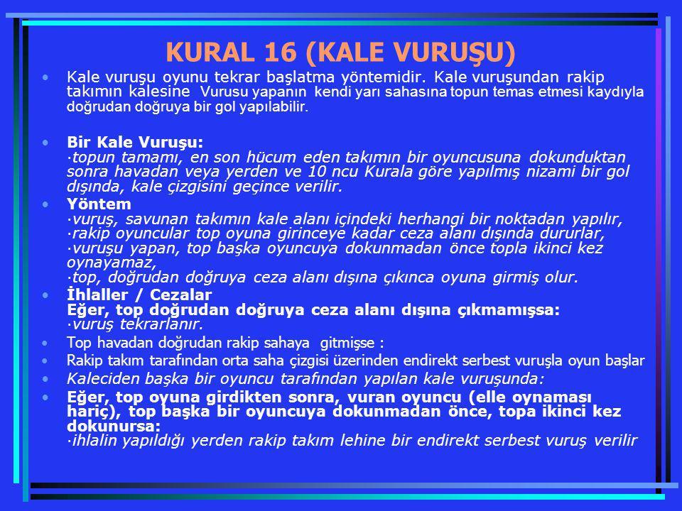 KURAL 16 (KALE VURUŞU)