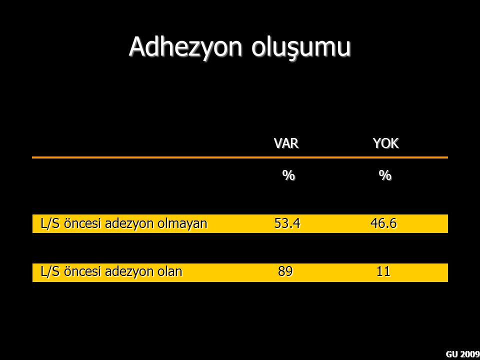 Adhezyon oluşumu VAR YOK % % L/S öncesi adezyon olmayan 53.4 46.6
