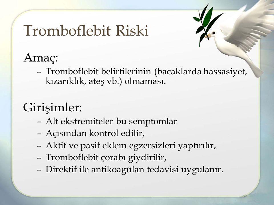 Tromboflebit Riski Amaç: Girişimler: