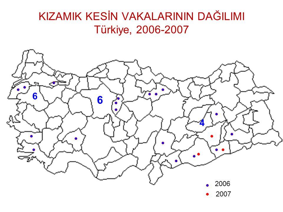 KIZAMIK KESİN VAKALARININ DAĞILIMI Türkiye, 2006-2007