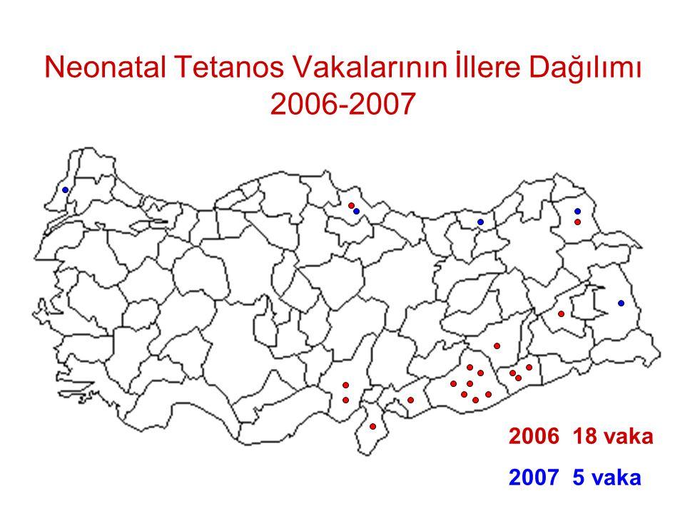 Neonatal Tetanos Vakalarının İllere Dağılımı 2006-2007