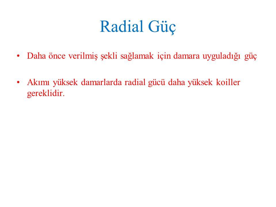 Radial Güç Daha önce verilmiş şekli sağlamak için damara uyguladığı güç.