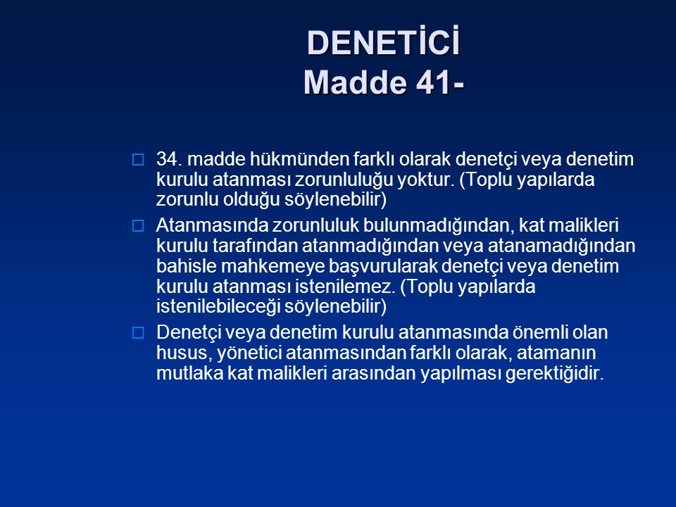 DENETİCİ Madde 41-