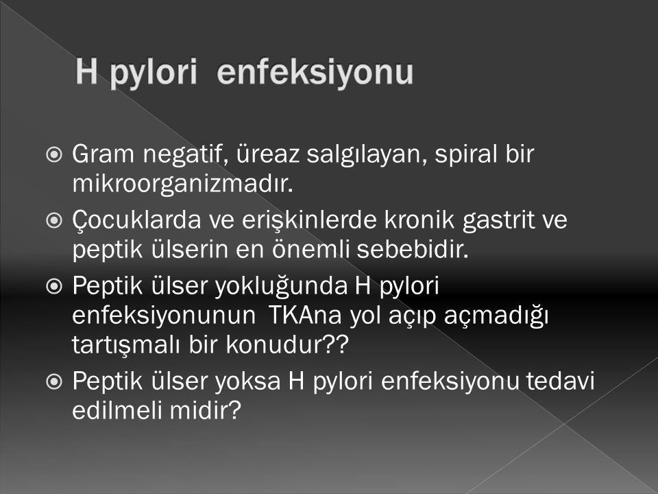 H pylori enfeksiyonu Gram negatif, üreaz salgılayan, spiral bir mikroorganizmadır.