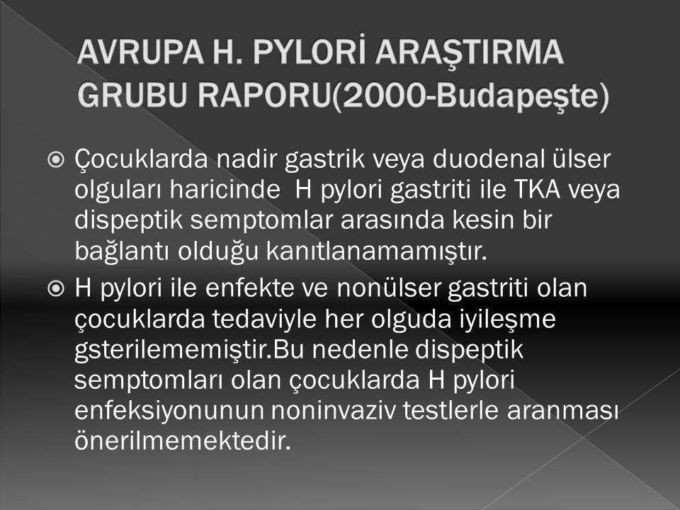 AVRUPA H. PYLORİ ARAŞTIRMA GRUBU RAPORU(2000-Budapeşte)