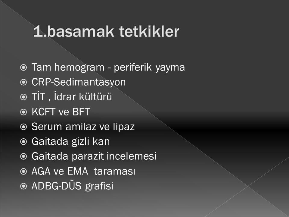 1.basamak tetkikler Tam hemogram - periferik yayma CRP-Sedimantasyon