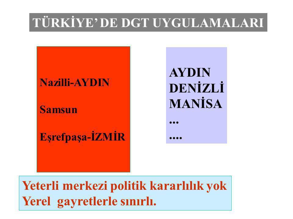 TÜRKİYE' DE DGT UYGULAMALARI