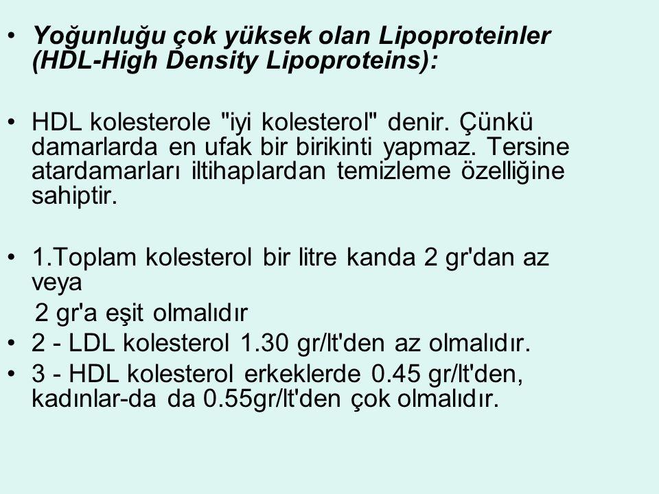 Yoğunluğu çok yüksek olan Lipoproteinler (HDL-High Density Lipoproteins):