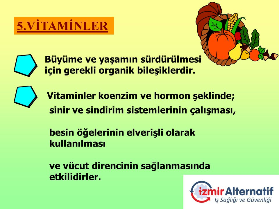 5.VİTAMİNLER Büyüme ve yaşamın sürdürülmesi için gerekli organik bileşiklerdir. Vitaminler koenzim ve hormon şeklinde;