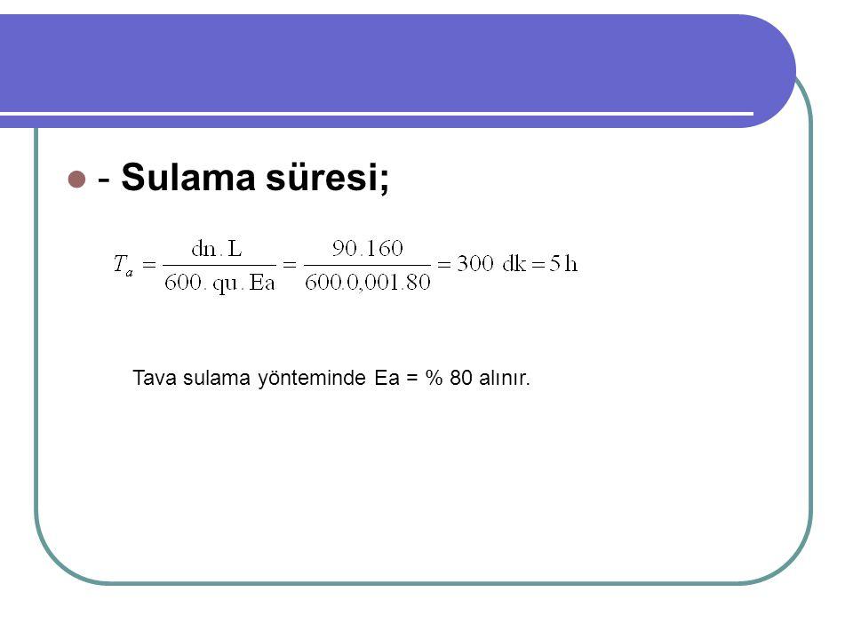 - Sulama süresi; Tava sulama yönteminde Ea = % 80 alınır.