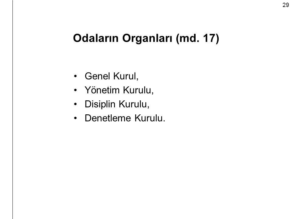 Odaların Organları (md. 17)
