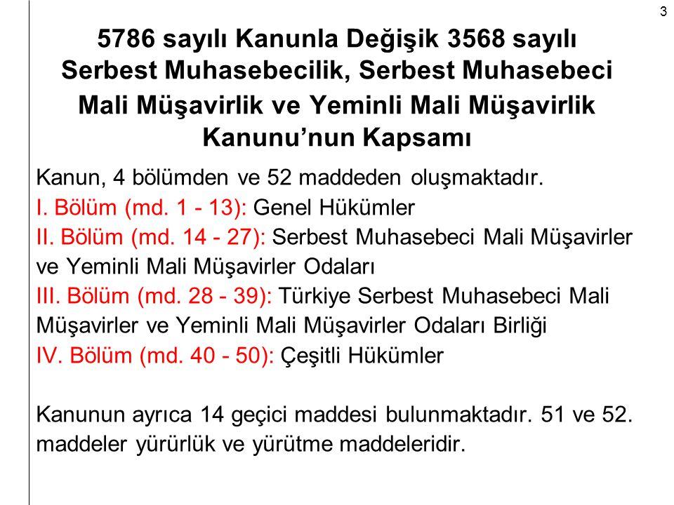5786 sayılı Kanunla Değişik 3568 sayılı Serbest Muhasebecilik, Serbest Muhasebeci Mali Müşavirlik ve Yeminli Mali Müşavirlik Kanunu'nun Kapsamı