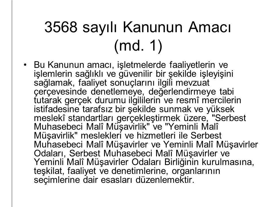 3568 sayılı Kanunun Amacı (md. 1)