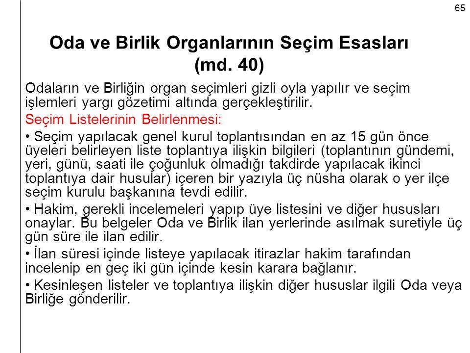 Oda ve Birlik Organlarının Seçim Esasları (md. 40)