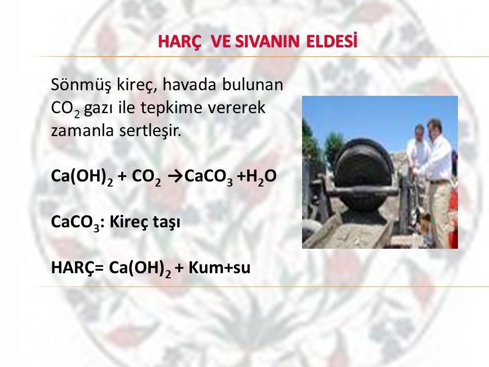 HARÇ VE SIVANIN ELDESİ Sönmüş kireç, havada bulunan CO2 gazı ile tepkime vererek zamanla sertleşir.