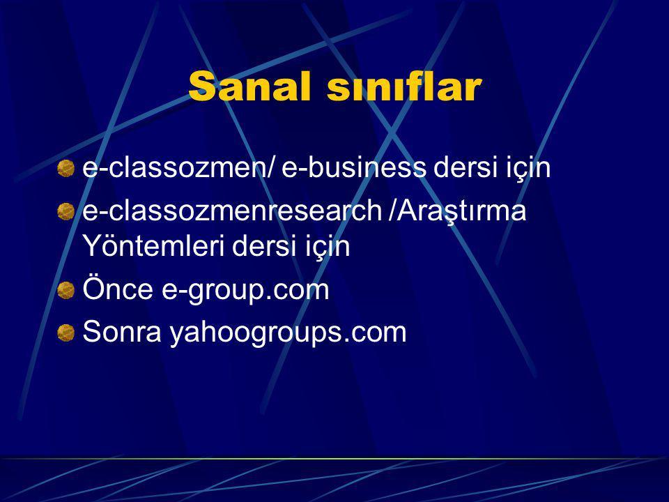 Sanal sınıflar e-classozmen/ e-business dersi için