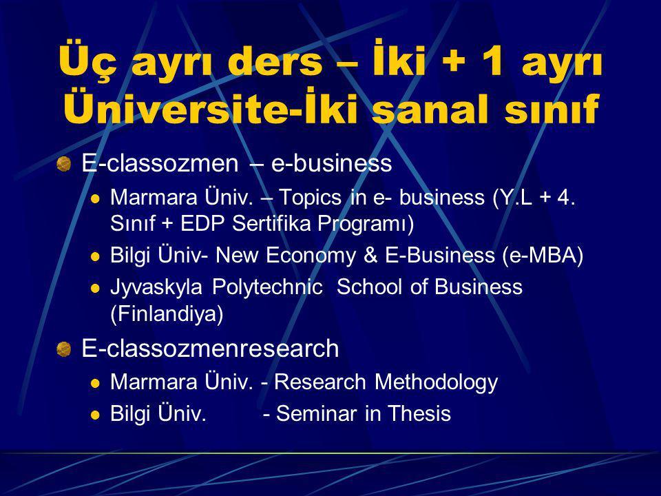 Üç ayrı ders – İki + 1 ayrı Üniversite-İki sanal sınıf