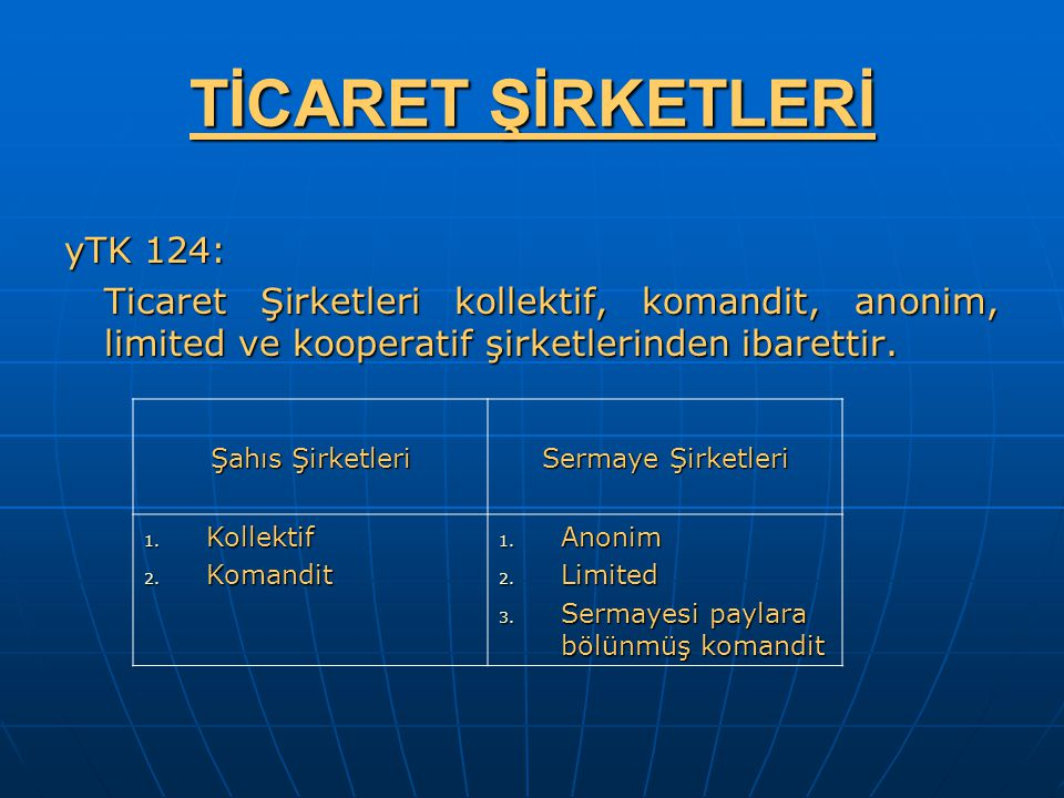 TİCARET ŞİRKETLERİ yTK 124: