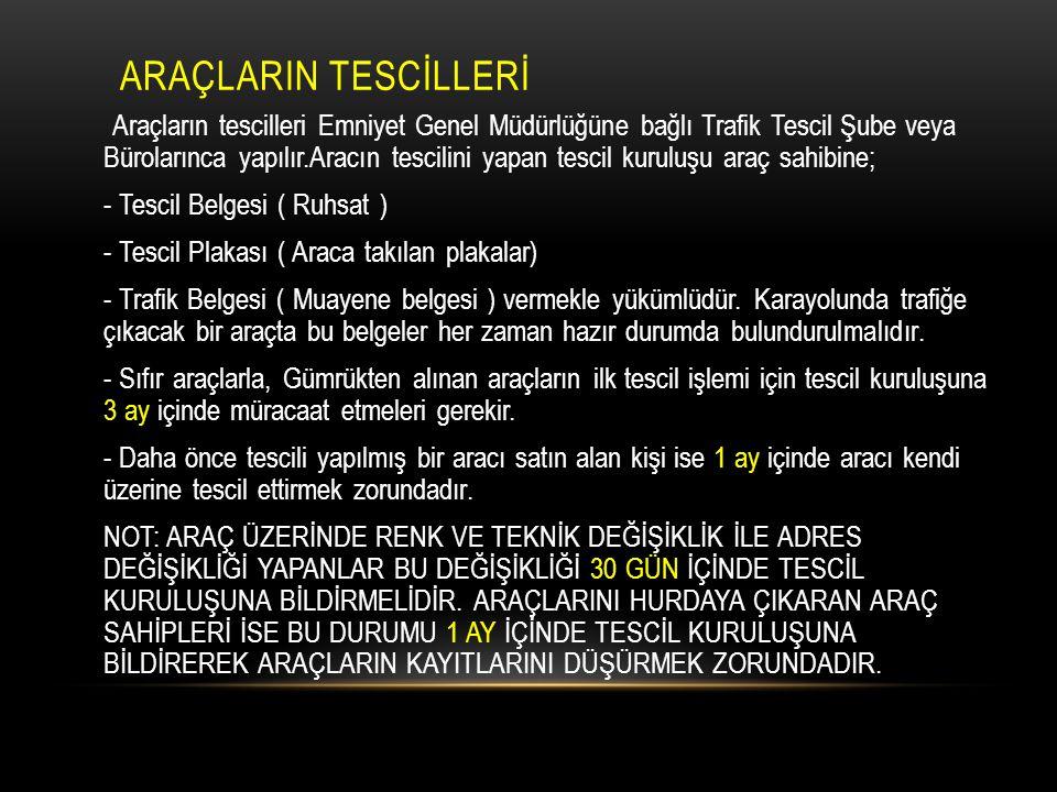 ARAÇLARIN TESCİLLERİ