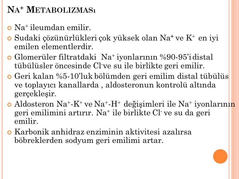 Na+ Metabolizması Na+ ileumdan emilir.