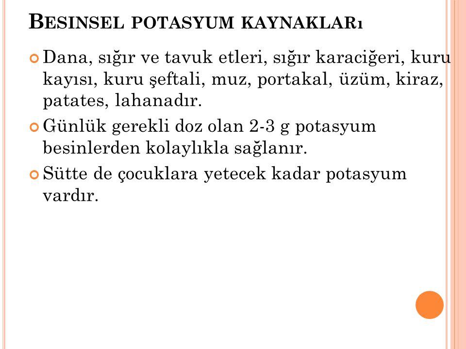 Besinsel potasyum kaynakları