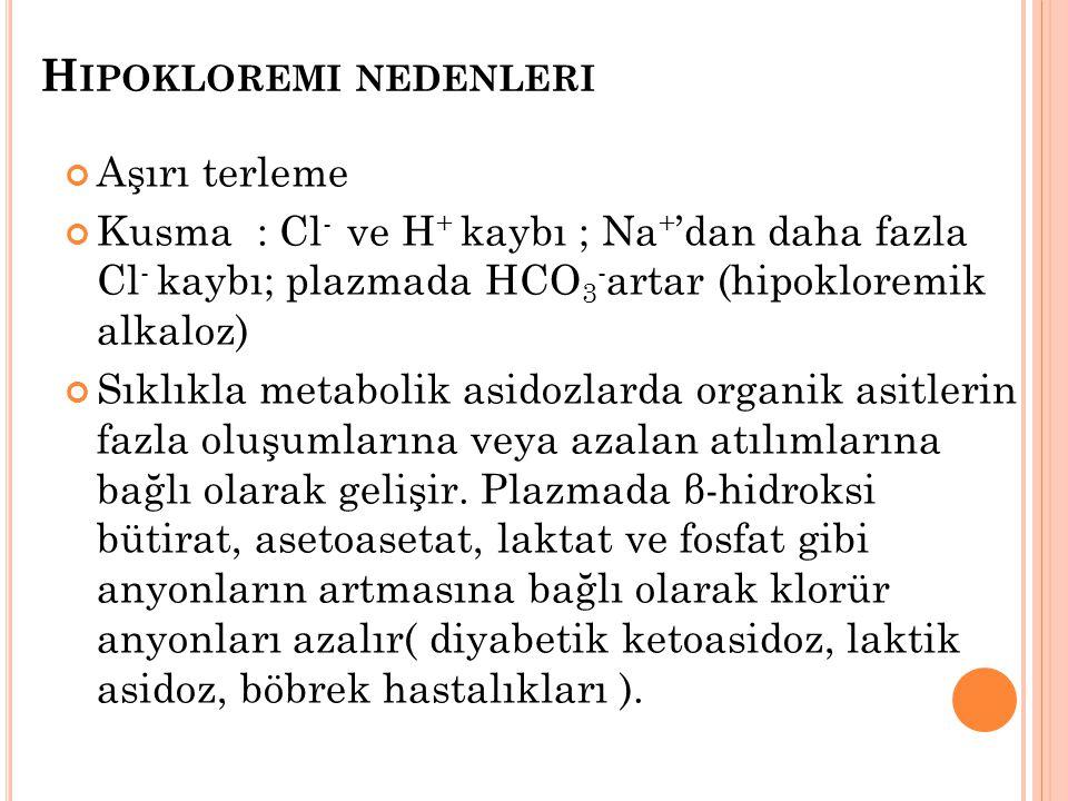 Hipokloremi nedenleri