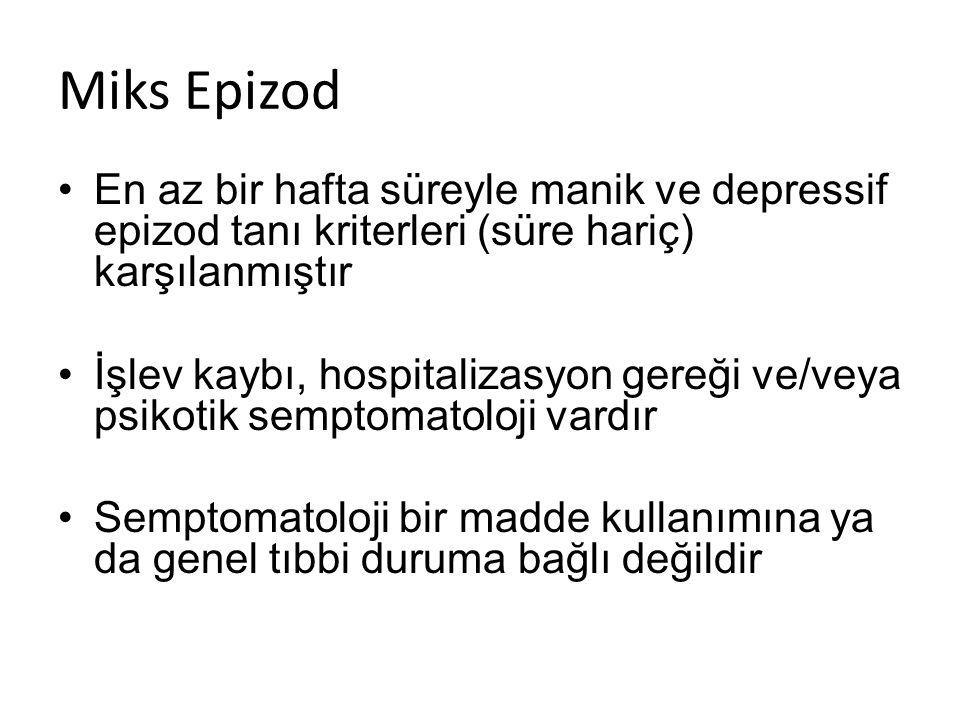 Miks Epizod En az bir hafta süreyle manik ve depressif epizod tanı kriterleri (süre hariç) karşılanmıştır.