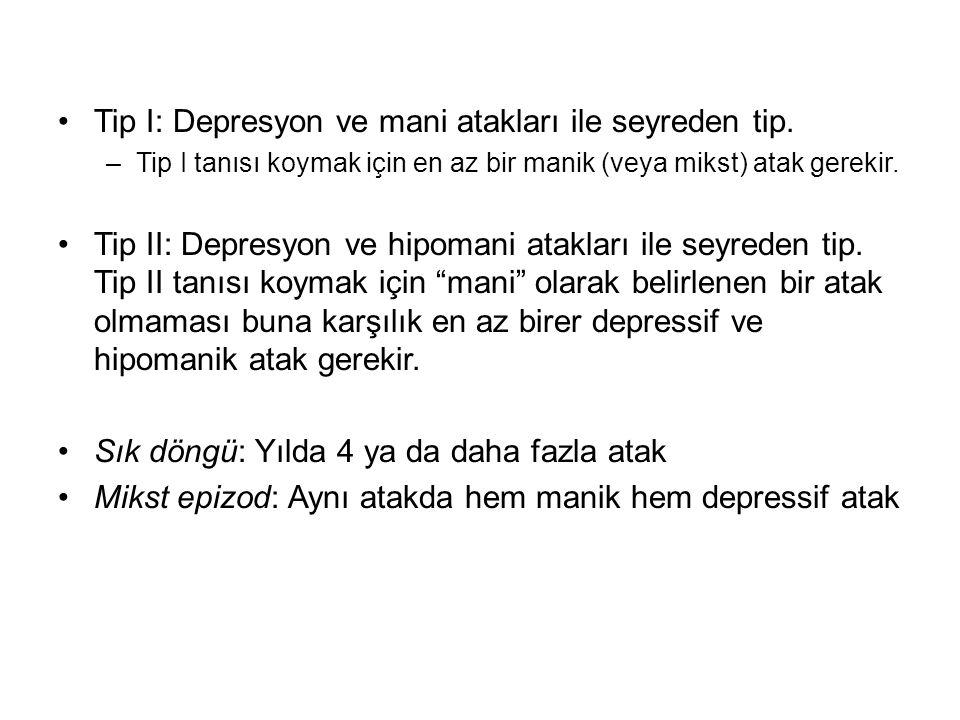 Tip I: Depresyon ve mani atakları ile seyreden tip.