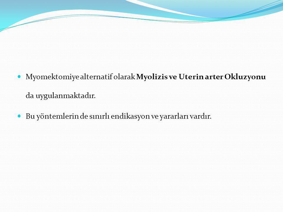 Myomektomiye alternatif olarak Myolizis ve Uterin arter Okluzyonu da uygulanmaktadır.