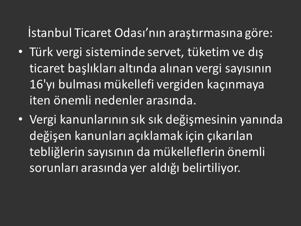 İstanbul Ticaret Odası'nın araştırmasına göre: