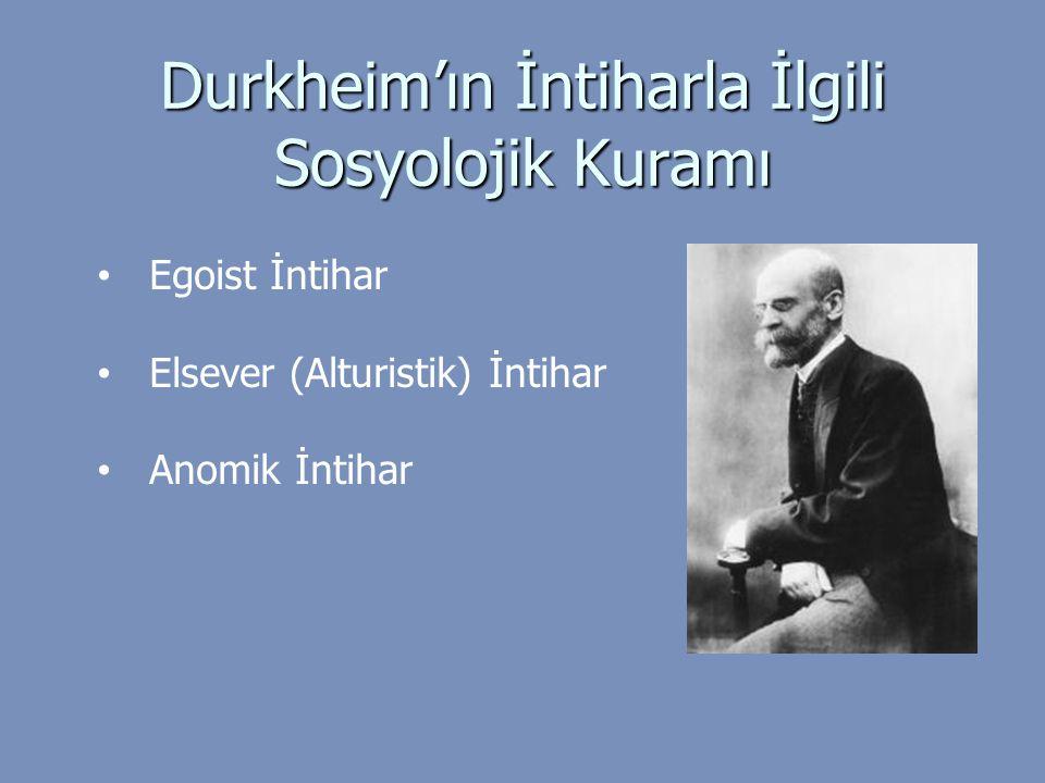Durkheim'ın İntiharla İlgili Sosyolojik Kuramı