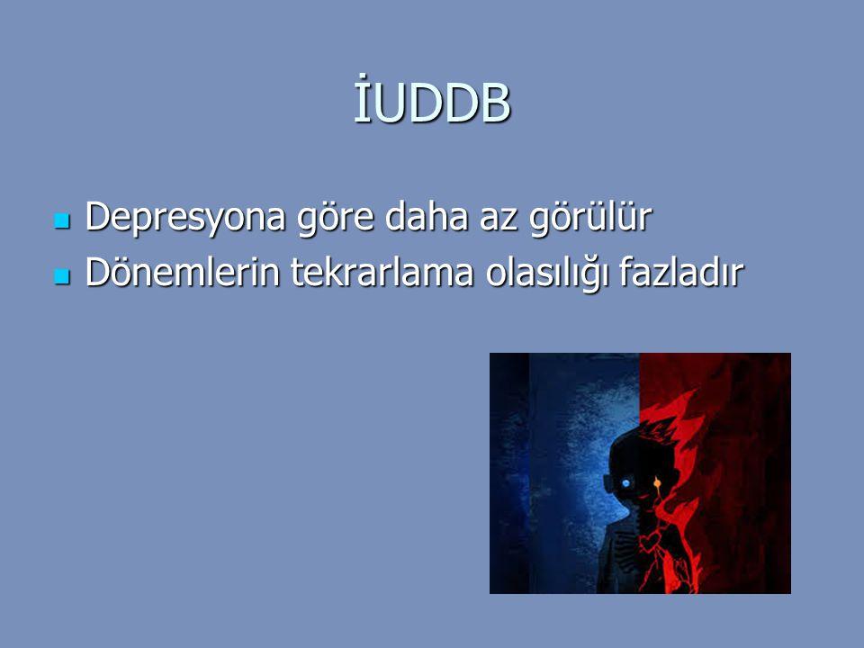 İUDDB Depresyona göre daha az görülür