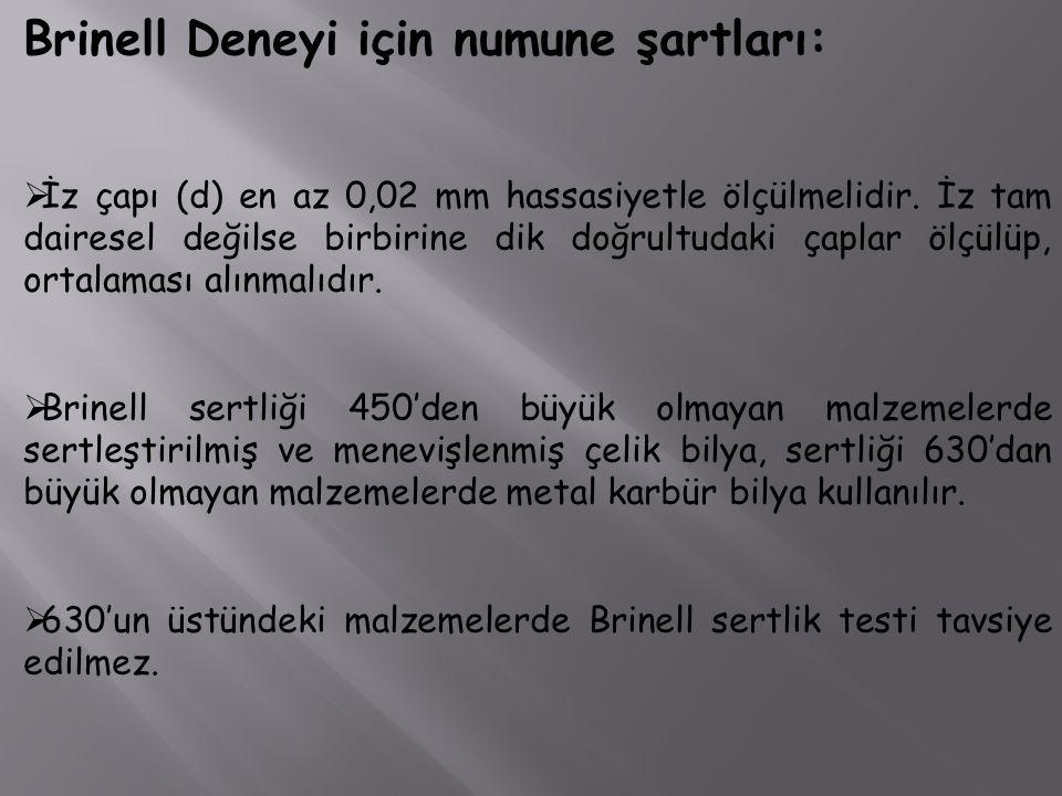 Brinell Deneyi için numune şartları: