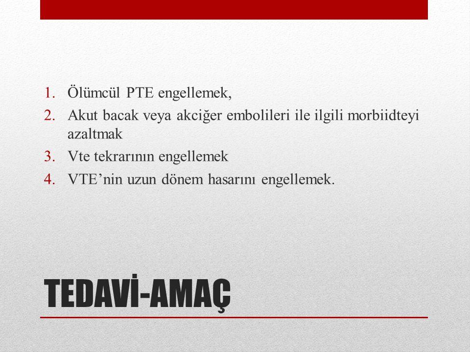 TEDAVİ-AMAÇ Ölümcül PTE engellemek,