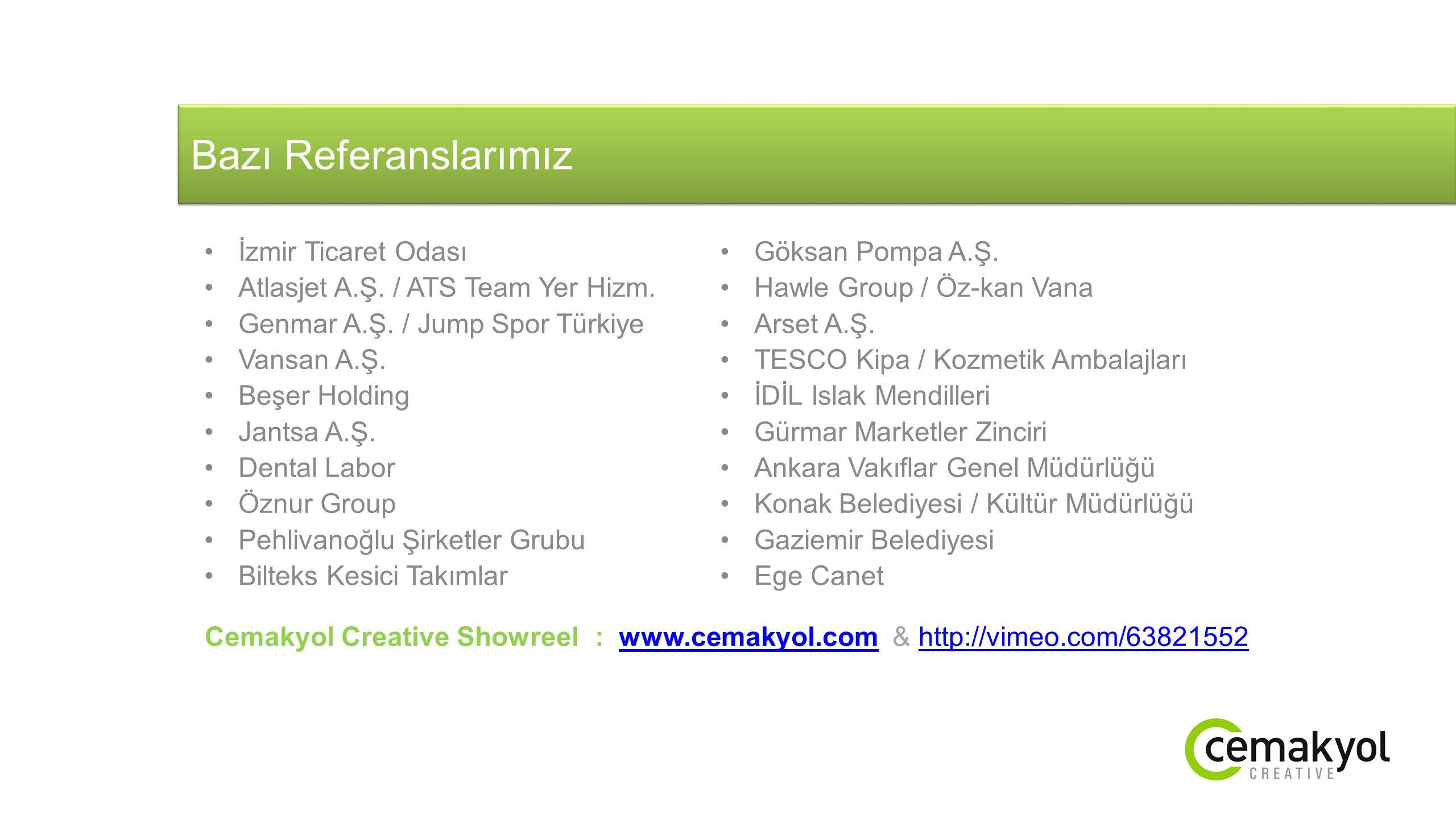 Bazı Referanslarımız İzmir Ticaret Odası Göksan Pompa A.Ş.