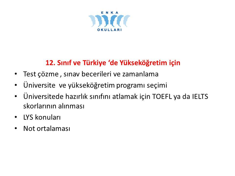 12. Sınıf ve Türkiye 'de Yükseköğretim için