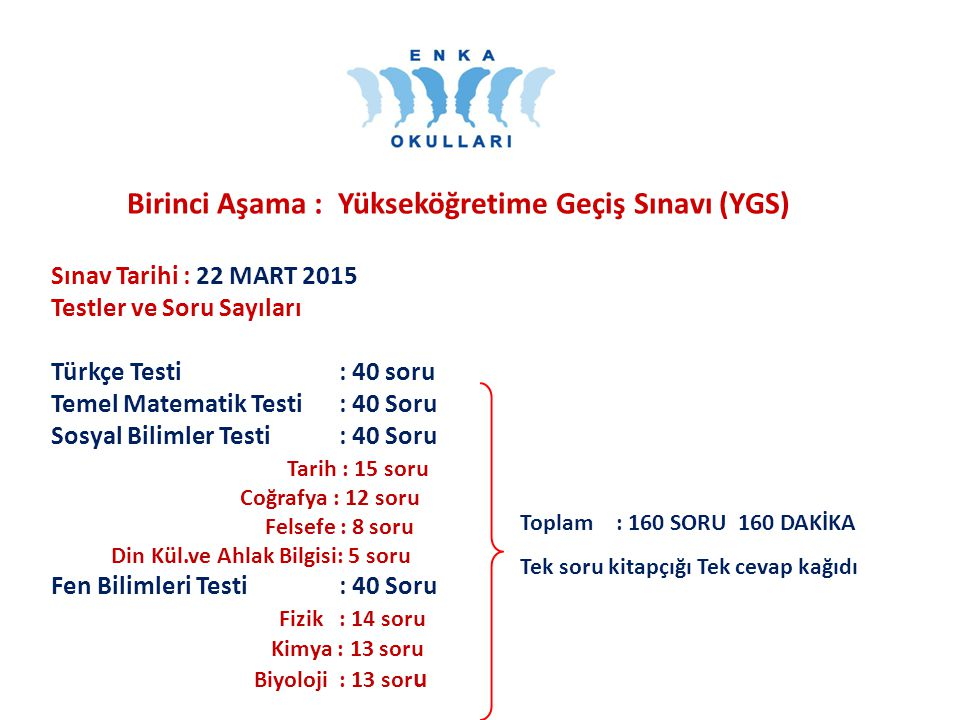 Birinci Aşama : Yükseköğretime Geçiş Sınavı (YGS)