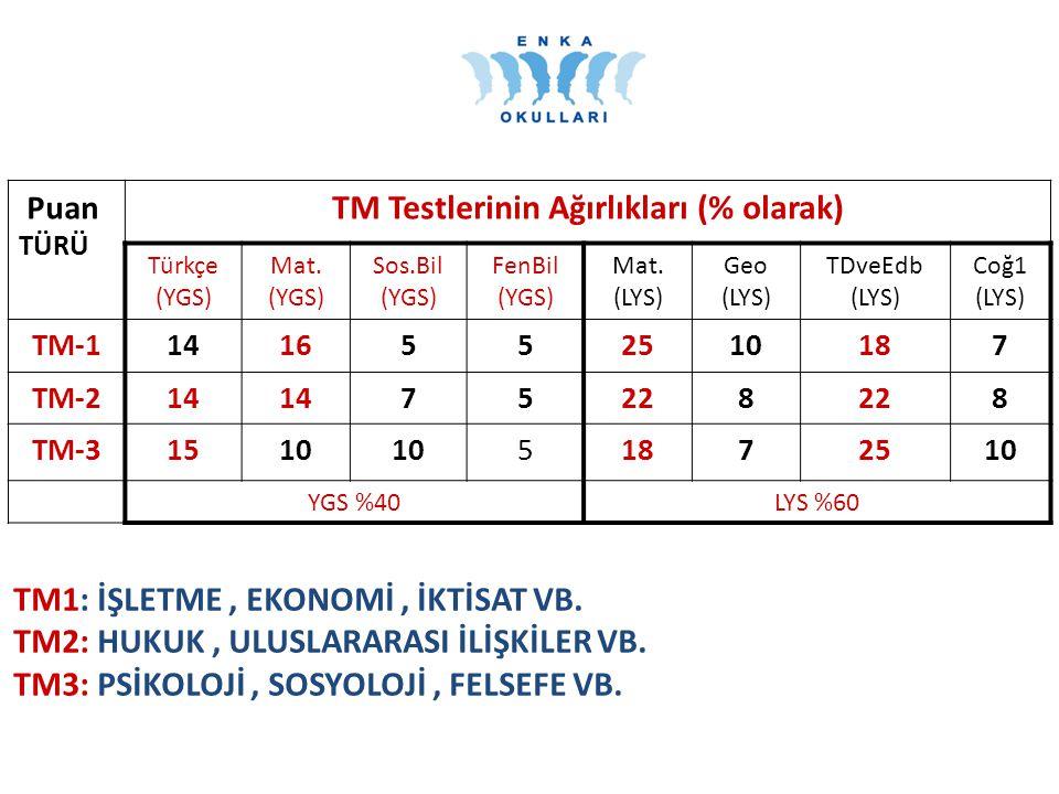 TM Testlerinin Ağırlıkları (% olarak)
