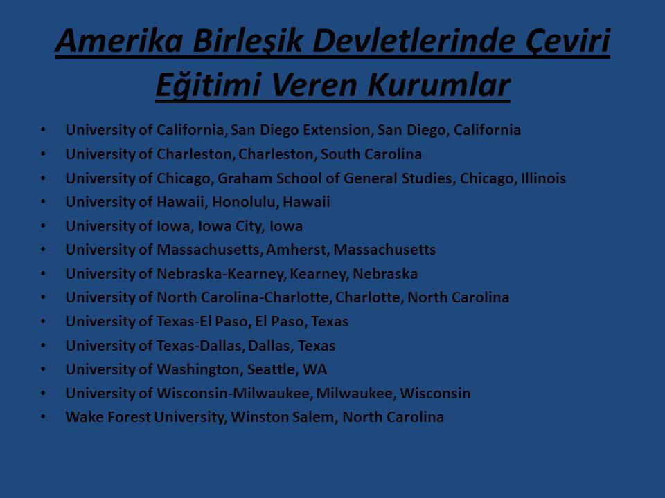 Amerika Birleşik Devletlerinde Çeviri Eğitimi Veren Kurumlar