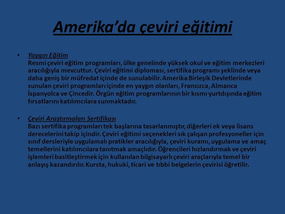 Amerika'da çeviri eğitimi